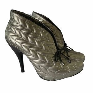 BCBGirls silver quilted heeled booties